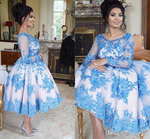 Royalblue Blue Prom Dresses Maniche lunghe Sheer Jewel Neck Prom Gowns con applicazioni in pizzo Crystal Tea Length Abiti da sera 2017