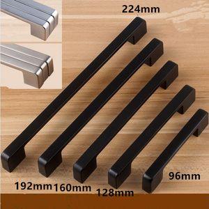 modern simple black furniture handle black 96mm 128mm 160mm 192mm 224mm 320mm drawer kitchen cabinet wardrobe door handles pulls knobs