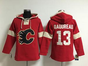Juventude Hóquei Jersey Barato, Chagas Calgary Hoodie 5 Marca Giordano 13 Johnny Gaudreau Crianças 100% Bordado Costurado Logos Hoodies Moletons