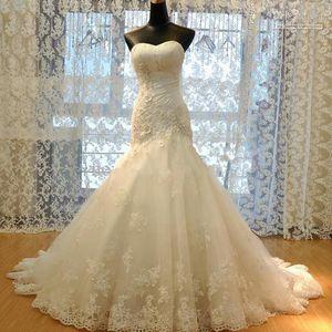Реальные фотографии 2020 Длинные свадебные платья русалка vestidos де Novia с кружевными аппликациями плюс размер свадебное платье