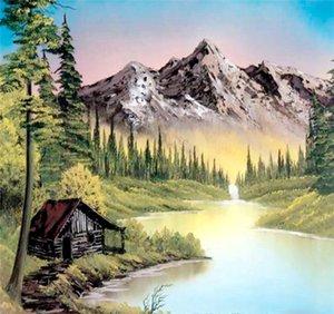 Nuovo cucito fai da te diamante pittura a punto croce kit pieno di resina diamante rotondo ricamo mosaico home decor scenario lago di montagna yx0502