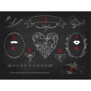 Personalizado contexto Photo Booth para floral impressão casamento Blackboard Digital do amor do coração DIY Pattern personalizado Fotografia bandeira