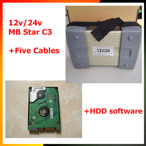 12v / 24v MB C3 Star Full Set Com 5 Cabos Auto Diagnóstico ferramenta MB C3 com HDD 2015.07 MB Star C3 Suporte para carros e caminhões