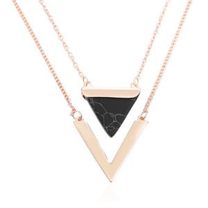Femmes Or Couleur Punk Colliers De L'Inde Chaude Géométrique Triangle Faux Marbre Pierre Pendentif Collier Vintage Bijoux Cadeau De Noël