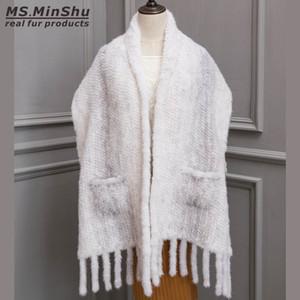 Lady's Wraps Natural Mink Shawl Fur Hand Knitted Fashion Poncho Luxury Fur Shawl Female Real Fur Scarf Mink