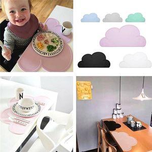 Vajilla para niños 47x27cm FDA Silicona Placeat Bar Mat Bebé Kids Cloud Shaped Plate Table Mat Home Use Kitchen Pads