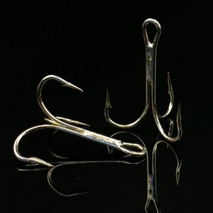 1 # 2 # 3 # 4 # crochet de pêche triple en nickel blanc, hameçons tranchants 1/0 # crochet à crochet en acier à haute teneur en carbone