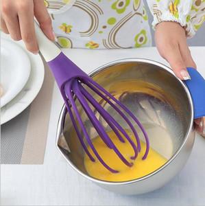Multifunktions-2 in 1 drehbare Schneebesen Lebensmittelqualität PP Schneebesen kochen Werkzeuge Küchenmixer abnehmbare waschbar Ei Mixer