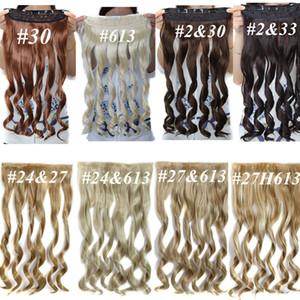 Clipe sintético em extensões de cabelo Rabos De Cavalo solto onda Ondulado cabelo pedaços 5 clipes 22 polegadas 120g clipe em extensões de cabelo mais cores