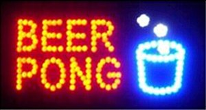 2016 Direct Selling graphic 10X19 inch indoor Ultra Bright flashing led beer brewing pong store sign Wholesale