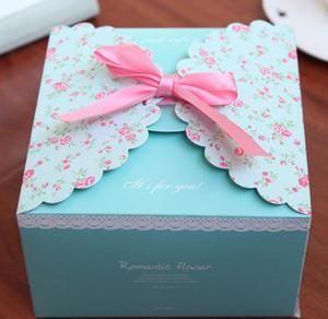 حفلة عيد الميلاد bowknot هدية مربع زفاف رومانسي لصالح صندوق مخصص كرافت ورقة هدية مربع الكرتون زهرة صناديق من الورق المقوى