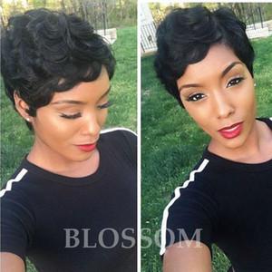 Pelucas rizadas del pelo humano Cabello brasileño Celebrity Barato Muy corto Natural Negro Humano Ninguno Guleless peluca para mujeres negras
