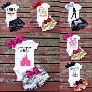 INS letras chicas mamelucos traje niños manga corta triángulo mamelucos lentejuelas pantalones cortos Bowknot banda para el cabello 3pcs establece ropa bebé 7 estilo DHT191