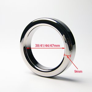 Male Metal Cock Ring 9mm Thicken Stainless steel Penis Delay ring Inner diameter 38 41 44 47mm Optional