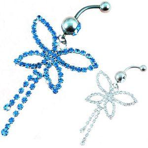 D0066 (3 colori) bowknot ombelico anelli ombelico gioielli body piercing ciondola gli accessori moda fascino artiglio catena farfalla