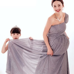 2pcs lot Maternity Photography Props Pregnancy Clothes Maxi Maternity photography Dress + Baby Dress For photography Props 4-5T