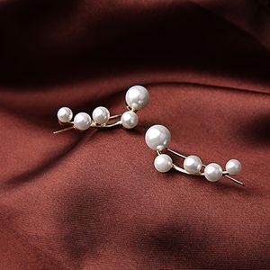 Kadınlar Noel Hediye Boncuk İnci saplama Küpe Simetrik Noktalı İnciler Studs Küpe Altın Kaplama Popüler Düz Güzellik