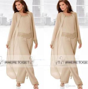 2018 Champagner Dreiteilige Hose für die Brautmutter mit langen Jacken und langen Ärmeln Perlenbesetztes Chiffon-Kleid für Hochzeitsgäste in Übergröße