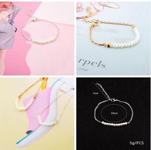 Pulseras de perlas de las mujeres NUEVO Pulsera de perlas a mano simple Simple Pulsera de oro y plata Pulseras de la cadena Brazaletes Regalos de joyería para mujeres y niña