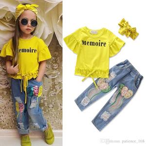 INS novos estilos de verão ternos infantis puro algodão mangas curtas folha de lótus T shirt + Jeans com furos em lantejoulas + headband três conjuntos gi