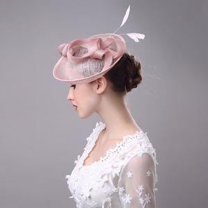 2017 mulheres chapéu de noiva de linho com pena senhora chique fascinador chapéu cocktail festa de casamento igreja headpiece acessórios para o cabelo