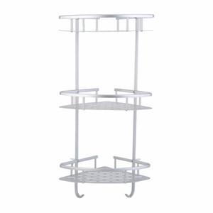 2pcs Practical Aluminum Triangular Shower Caddy Shelf Three Layers Bathroom Wall Corner Rack Storage Organizer Holder