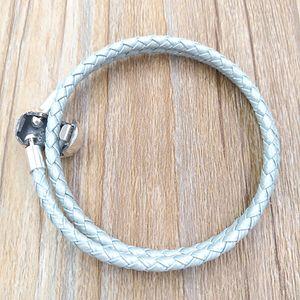 Auténtico cuero de plata de la luz azul de 925 encantos de los ajustes de joyas de estilo europeo de Pandora Beads Regalo hecho a mano 590734CBL-D