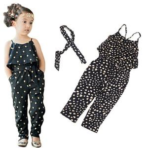 2016 muchachas del verano Ligueros ocasionales ropa de la honda del milímetro Conjuntos de la ropa del mameluco del bebé Encantador en forma de corazón pantalones del mono trajes trajes del mameluco