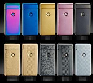USB 가벼운 windproof 슬림 더블 아크 아크 충전 크리 에이 티브 개성 전자 담배 라이터 10 색상과 좋은 아크 상자 펄스 위대한