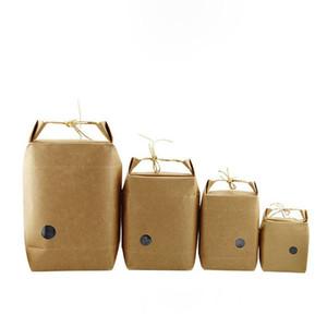 Kraft Paper Bag Stand Bolsas de regalo Food Cookies Walnut Dry Fruit Paquete de té Caja con Mango Envío gratis ZA4292