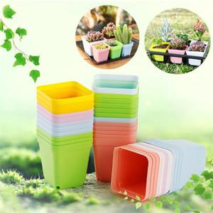 7 cores vaso de plantas de Moda mini Plástico Flowerpot colorido quadrado flowerpot Home office decoração suprimentos IA653