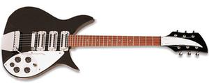 Chitarra elettrica Unico Ricken John Lennon 325C64 Jetglo 6 String nero Triangolo Mother Of Pearloid Tastiera Inlay pickup vintage-style