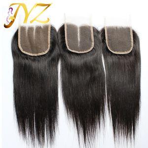 Закрытие 100% человеческих волос бразильское закрытие шнурка волос 8-20inch прямое закрытие естественный цвет с отбеленными узлами