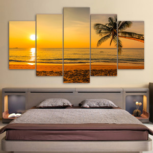 5 Pcs Set Framed Printed Tropical Beach Sunset Palm Tree Home Wall Decor Canvas Picture Art HD Print Painting Artworks