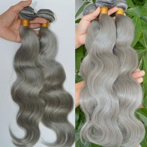 Ensembles de cheveux gris argentés Vague de corps Trames de cheveux brésiliens vierges Extensions gris trames de tissage de cheveux humains