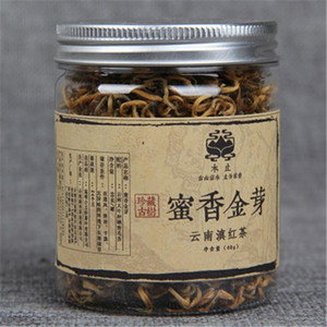 프로모션 40g 운남 통조림 Dianhong 홍차 중국어 쿵후 홍차 꿀 향기 골드 꽃 봉오리 대형 잎 유기농 차