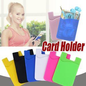 فائقة النحافة محفظة الذاتي لاصق بطاقة الائتمان بطاقة مجموعة حامل البطاقة الملونة سيليكون الهاتف المحمول القضية للحصول على 12 برو ماكس سامسونج هواوي XIAOMI