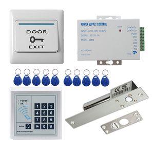 Access Control Kit Standalone Access Control Tastatur + elektrische Riegelschloss + Türausgang + Power + 10 Schlüsselanhänger