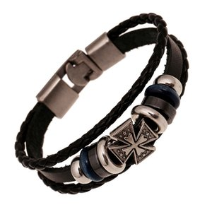 Braid Multilayer Leather bracelet Badge Cross Charm charm bracelet wristband bangle cuff jewelry women bracelets mens bracelets