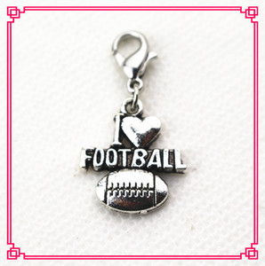 Hot selling 50pcs lot I love football Dangle Charms DIY Bracelets&bangles Jewelry Accessory sport Charms lobster clasp charm