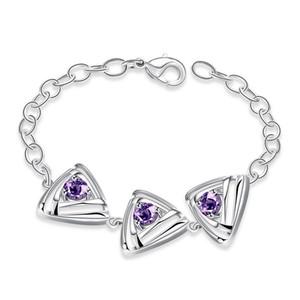 Personalidad de la moda Lucky Charm Bracelet Amethyst Crystal Triangle Chain Link Pulseras Brazaletes 925 Plata Esterlina Mujeres Zircon Joyería