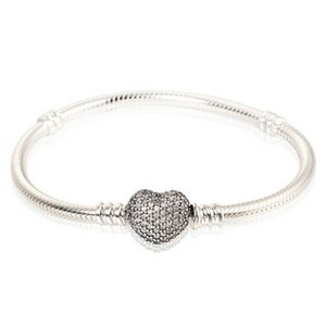 Authentic 925 Sterling Silver Jewelry Snake Charm Bracelets For Women with Crystal Micro Pave Heart Clip Clasp Fits European Beads DIY