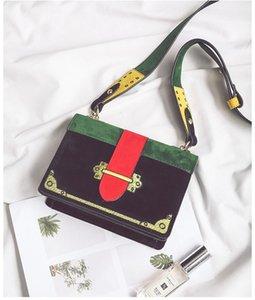 Nuevo diseñador de cuero Nubuck mujer solo hombro bolsa de mensajero dama noche casual monedero verde / rosa color rojo no344
