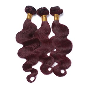 # 99J вино красный бразильский человеческих волос ткать расширения 3шт волна тела волнистые чистый бордовый девственные пучки человеческих волос сделок двойной Wefted