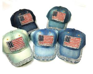 Gorra de béisbol de las mujeres sombreros de los hombres Sombrero de la bandera americana del verano Sombrero de mezclilla Rhinestone de la manera del vaquero de la manera 6 paneles Snapbacks Sombrero del sol del ocio Sombrero caliente