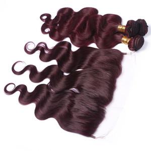 Vague de corps # 99J rouge vin 3Bundles cheveux péruviens avec dentelle Frontale 4Pcs Lot Bourgogne pleine frontale 13x4 Lace Closure avec tissages cheveux Vierge