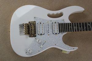Benutzerdefinierte 24 Bünde V WH weiß SELTEN E-Gitarre überbacken Griffbrett Abalone Baum der Linie Inlay Gold Floyd Rose Tremolo Saitenhalter
