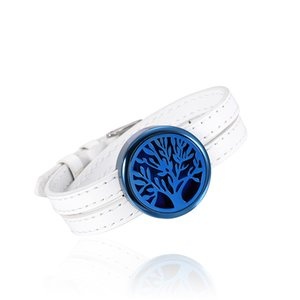 IJP003 30mm plata medallón de aromaterapia pulsera de acero inoxidable Perfume Locket con Feather Wristband Essential Oil Diffuser Locket Bracelet