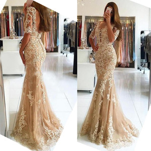 Robe de Soiree Longue Champagne Half Sleeves Mermaid Evening Dresses Sexy Sccop Neck Backless Appliques Formal Evening Gowns