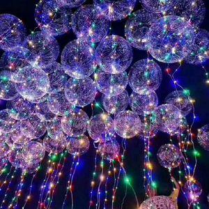 Nova bola de bobo levou linha de luz do balão de corda com bateria para o natal do dia das bruxas festa de casamento decoração de casa circular
